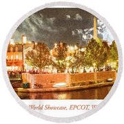 France Pavilion At Night With Fireworks, Epcot, Walt Disney Worl Round Beach Towel