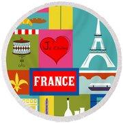 France Vertical Scene - Collage Round Beach Towel