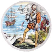 Francis Drake And The Golden Hind Round Beach Towel