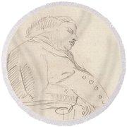 Francis Grose Asleep In A Chair Round Beach Towel