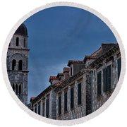 Franciscan Monastery Tower - Dubrovnik Round Beach Towel