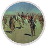 Francisco Vasquez De Coronado Making His Way Across New Mexico Round Beach Towel