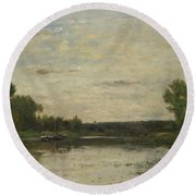 Francois Daubigny   View On The Oise Round Beach Towel