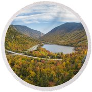 Franconia Notch Autumn View Round Beach Towel