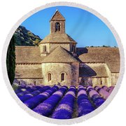 All Purple, Cistercian Abbey Of Notre Dame Of Senanque, France  Round Beach Towel