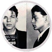 Frank Sinatra Mug Shot Horizontal Round Beach Towel
