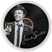 Frank Sinatra Portrait On Lp Round Beach Towel