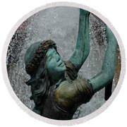 Frankenmuth Fountain Girl Round Beach Towel