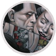 Frankenstein And Wife  Round Beach Towel
