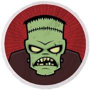 Frankenstein Monster Round Beach Towel by John Schwegel