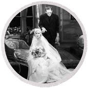 Frankenstein Monster Sneaks Up On Bride 1931 Movie Round Beach Towel