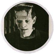 Frankensteins Monster Boris Karloff Round Beach Towel