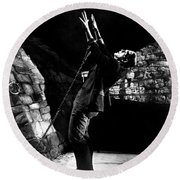 Frankensteins Monster Chained The Castle Played By Boris Karloff Round Beach Towel