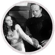 Frankensteins Monster Molests Young Girl Boris Karloff Round Beach Towel