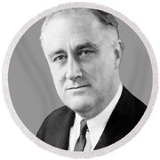 Franklin Delano Roosevelt Round Beach Towel by War Is Hell Store