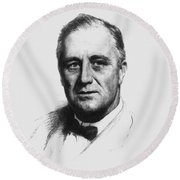 Franklin Roosevelt Round Beach Towel by War Is Hell Store