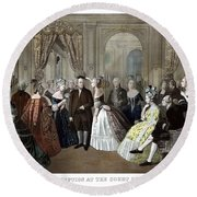 Franklin's Reception At The Court Of France Round Beach Towel