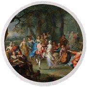Franz Christoph Janneck Graz 1703-1761 Vienna A Dance In The Palace Gardens, Round Beach Towel