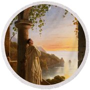 Franz Ludwig Catel  A Monk Meditating In A Cloister Round Beach Towel