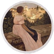 Frederic Bazille   The Pink Dress Round Beach Towel