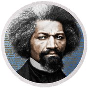 Frederick Douglass And Emancipation Proclamation Painting In Color  Round Beach Towel