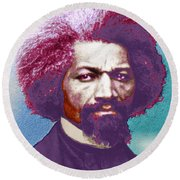 Frederick Douglass Painting In Color Pop Art Round Beach Towel