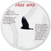 Free Bird Round Beach Towel