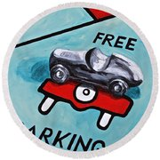 Free Parking Round Beach Towel