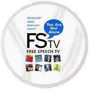 Free Speech Tv Round Beach Towel