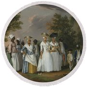 Free Women Of Color With Their Children And Servants In A Landscape Round Beach Towel
