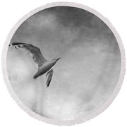 Freedom In Black And White Round Beach Towel