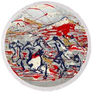 Freedom On The Open Range Round Beach Towel by J R Seymour