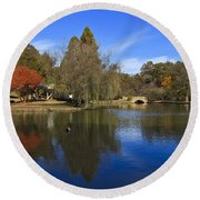 Freedom Park Bridge And Lake In Charlotte Round Beach Towel