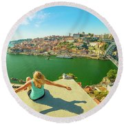 Freedom Woman At Douro River Round Beach Towel