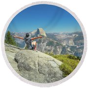 Freedom Woman At Glacier Point Round Beach Towel