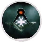 Freemason Symbol By Raphael Terra Round Beach Towel