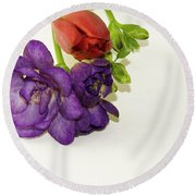 Freesia And Tulip Round Beach Towel
