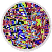 Freeway Of Colors Abstract Round Beach Towel