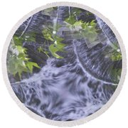 Freeway Park Waterfall 2 Round Beach Towel