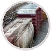 Freight Train Abstract Round Beach Towel