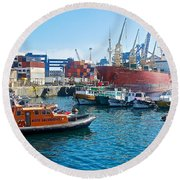 Freighter And Shipping Containers In Port Of Valpaparaiso-chile Round Beach Towel