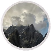 French Alps Peaks Round Beach Towel
