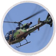 French Army Gazelle Helicopter Round Beach Towel