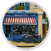 French Bicycle Shop Round Beach Towel