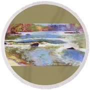 French Broad Rver Overflowing Round Beach Towel