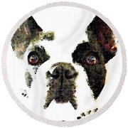 French Bulldog Art - High Contrast Round Beach Towel