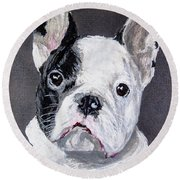 French Bulldog Close Up Round Beach Towel