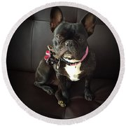 French Bulldog On The Couch Round Beach Towel