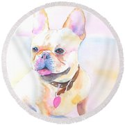 French Bulldog Watercolor Round Beach Towel