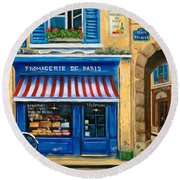 French Cheese Shop Round Beach Towel by Marilyn Dunlap